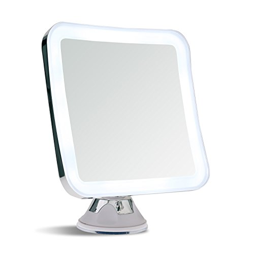 Sanheshun 7X Magnifying Lighted Travel Makeup Mirror, Locking Suction Mount, Battery Operated, Square
