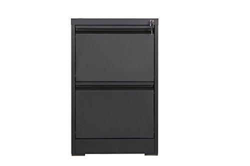 MMT Furniture Designs Archivador vertical de acero negro, 2 cajones con cerradura - extensión de escritorio 73 cm de alto - grado profesional - 600 mm de ...