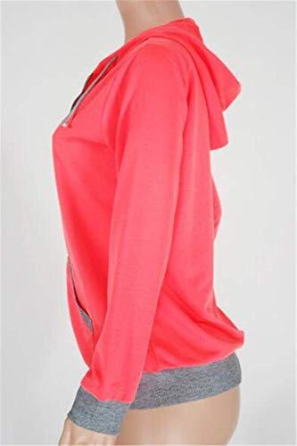 A Rose Giubbino Mantello Chiusura Red Donna Di Giacca Primaverile Cappuccio Tasche Eleganti Giaccone Alla Manica Con Cappotto Autunno Giovane Moda Lunga Cerniera rarBnR