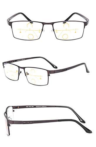 Brown Lens para de Gafas Tamaño DAFREW Brown Brown Color Hombres lectores Brown Fatiga Lectura de lens la Ultraligero de prevención 3X Inteligente Gafas Material Sol Zoom decoloradas de 4qqO1