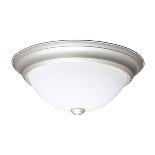 IN HOME 12,9 Inch LED Dimmable Flush Mount Ceiling Light Fixture Round Dome Opal Glass Shade 18 Watt (90W Repl) 4000K Bright white 1000 Lm, Nickel Finish, UL & ENERGY STAR listed ()