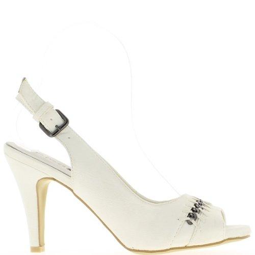 Vassoio di davanti e tacco 10cm sandali bianco