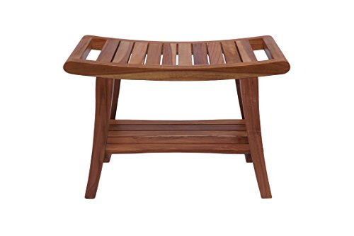 (Rounded Bench with Storage, Teak Wood, Cami (Natural))