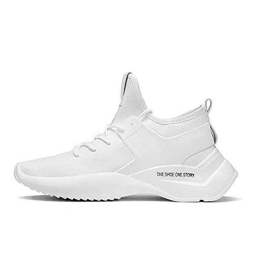 Spring and Autumn PU Leather Male Adult Lace-Up Breathable Fashion Mens Casual Sneakers,White,7