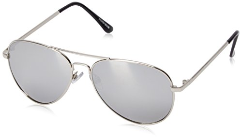 Foster Grant Women's Dolly Aviator Sunglasses, Silver, 58 - Mirroed Sunglasses