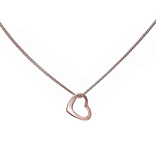 Slanted Heart Pendant Necklace Rose Tone 925 Sterling Silver (Necklace Slanted Heart Pendant)