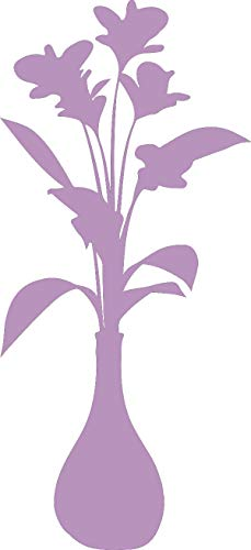 hBARSCI Vase of Flowers Vinyl Decal - 11 Inches - for Walls, Windows, Doors, Vehicles, Outdoor-Grade 2.5mil Thick Vinyl - Lilac