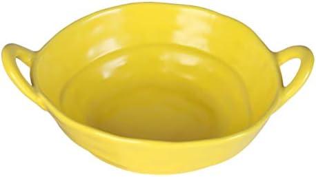Hemoton Salade kom keramische serveerschaal voor thuis restaurant keuken bakken geel