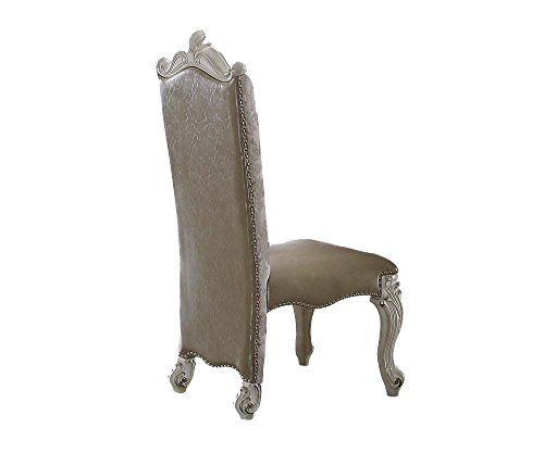 ACME Versailles Vintage Gray and Bone White Side Chair Set of 2 - Acme Furniture Set Chair