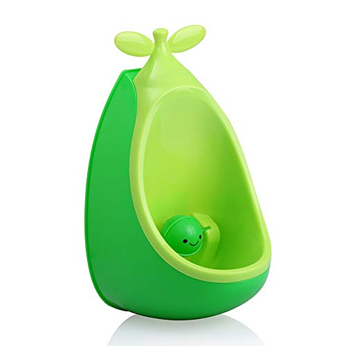 Standing Child Urinal,Cute Pea Shape Potty Training Toilet, Wall-Mounted Boy Potty with Adjustable Toilet Height and Rotating Smiley Ball,Green