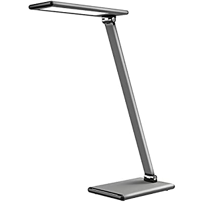 MoKo 8W LED Desk Lamp, Eye-Care Smart Touch Control Table Lamps with Rugged Aluminum Alloy Body, Stepless Adjusted Color Temperature/Brightness Level, Rotatable Arm/Head, Memory Function - Dark Gray