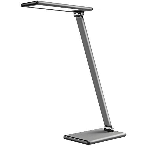 Aluminum Lamp (MoKo LED Desk Lamp, 8W Eye-Care Smart Touch Control Table Lamps with Rugged Aluminum Alloy Body, Stepless Adjusted Color Temperature/Brightness Level, Rotatable Arm/Head, Memory Function - Dark Gray)
