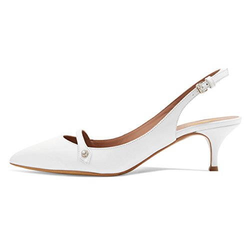 XYD Women Pointed Toe Mid Kitten Heel Slingback Sandal Pumps Slip On Patent Satin Dress Shoes Size 8 Ivory-PU