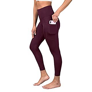 90 Degree By Reflex Super High Waist Elastic Free Ankle Legging with Side Pocket - Cinnamon Cherry - XS