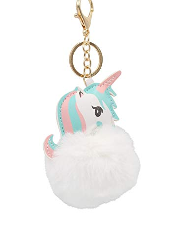 Mommys Little Girl Charm - REAL SIC Unicorn Pom Pom Keychain - Faux Fur Fluffy Fuzzy Charm For Women & Girls (Mommy White)