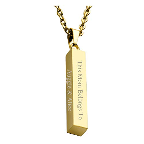 Personalized Master Free Engraving Custom Message Names Stainless Steel Vertical Cuboid Bar Rectangle Pendant Square Stick Necklace with Gift Box