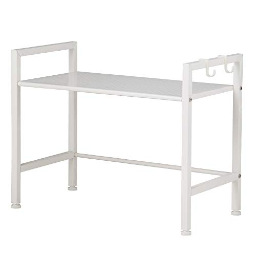 SINGAYE Oven Rack, Double Layer Microwave Rack Shelving Unit Kitchen Storage Racks,Countertop Storage Shelves,White