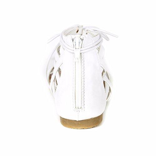 Vrouwen Strappy T Riem String Gladiator Leger Leren Stropdas Platte Sandalen Wit