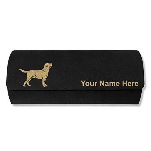Sunglass Case, Labrador Retriever Dog, Personalized Engraving Included (Black)