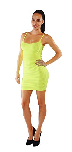 [Vesi Star Women's Bodycon Pnecil Mini Solid Slim Fit Long Wave Top Dress MD55 (Neon Yellow MD55)] (Neon Party Dresses)