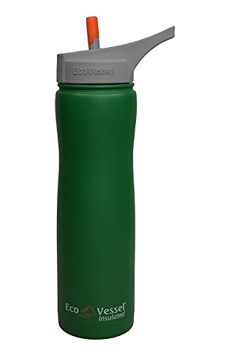 EcoVessel SUMMIT TriMax Triple Insulated Stainless Steel Water Bottle with Flip Straw - Green - 24-Ounce