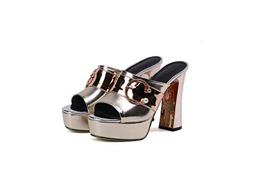 Flop Sandals Women's Heels Flip Block Qin amp;x Golden vYnTUpqY