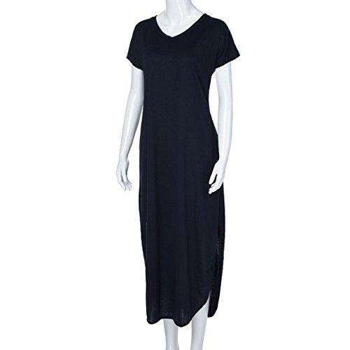 Summer ESAILQ Manches Robe Longueur Beach Womens Longue Courtes Loose Gallus Bleu Fonc Parole waga6Erq