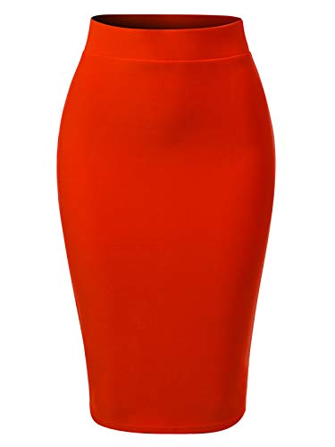 (MixMatchy Women's Solid Techno Scuba Bodycon Pencil Skirt with Back Slit Coral M)