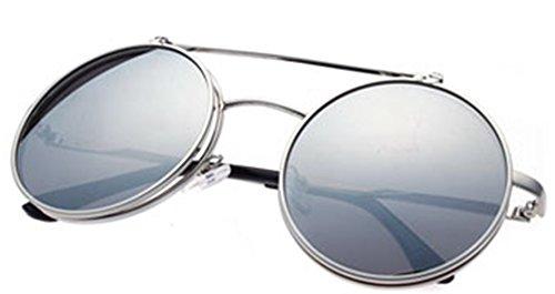 Steampunk Mujeres Adulto amp;L Retro Gafas Lente Gafas Gafas Silver Sol de Para Flip Negro J GLASSES Hombres up Unisex xYwZEd1Yq6