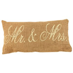 Mr. & Mrs. French Flea Market Burlap Accent Throw Pillow - 12-in x 6-in