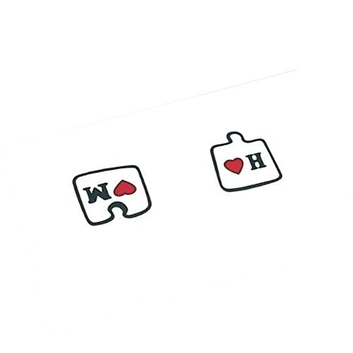 Nice 3Pcs Couples Tattoo Stickers Color Love Puzzle Tattoo Stickers