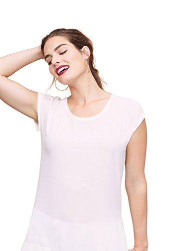 Violeta By Mango Women's Plus Size Textured Flowy T-Shirt, White, 14