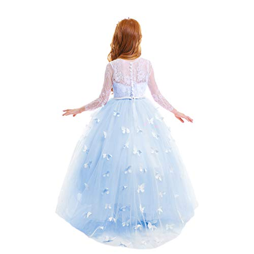 Little Big Girl Full Length Lace Bodice Tulle Ball Gown Flower Communion Dress for Kids Princess Pageant Appliques Dance Costume #F Baby Blue Long Sleeve Butterfly 4-5 -