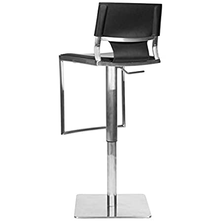 Sensational Safavieh Home Collection Armondo Stainless Steel And Black Leather Adjustable Gas Lift 22 4 31 5 Inch Bar Stool Machost Co Dining Chair Design Ideas Machostcouk