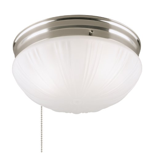 Brushed Nickel 3' Pull - Westinghouse Lighting 6721000 Two-Light Flush-Mount Interior Ceiling Fixture with Pull Chain, Brushed Nickel Finish with Frosted Fluted Glass