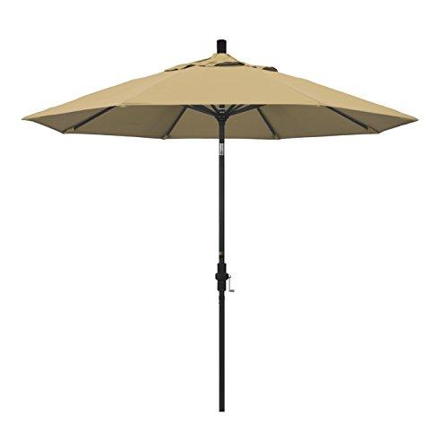 California Umbrella 9' Round Aluminum Market Umbrella, Crank Lift, Collar Tilt, Black Pole, Champagne Olefin