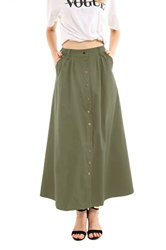 JOAUR Women's Slit Casual Skirts Button Front High Waist Maxi Skirt with Pockets (14, Olive Green) ()