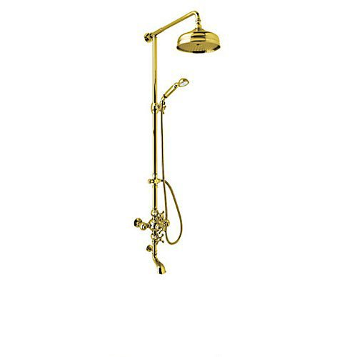 - Rohl AC414X-IB Cisal Shower System with Exposed Thermostatic Valve, Shower Head, Inca Brass