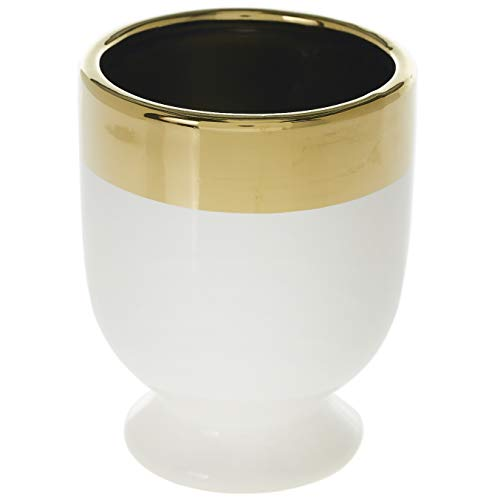 Accent Decor Glossy White and Gold Ceramic Round Vase - 4.25 x 5.5 Inches Louie Collection Vase Modern Minimalist Chic Compote for Home, Office, Wedding Decor