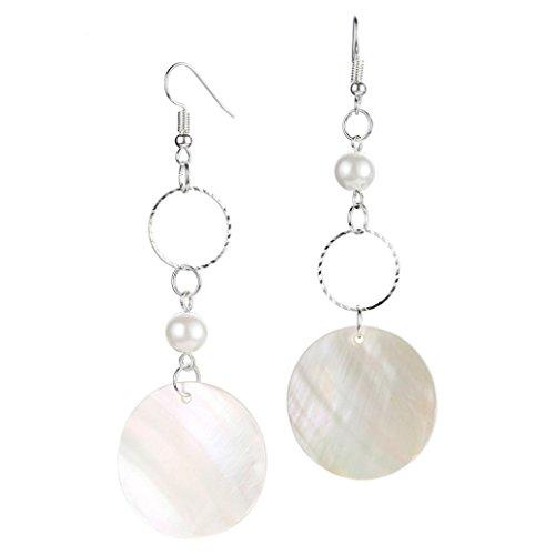 (Clearance! Elogoog Women's Elegant Shell Geometric Drop Dangle Long Chain Tassel Earrings Ladies Double Circle Gold Silver Jewelry Earrings 1 Pairs (Silver (Sequins)))
