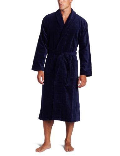 Derek Rose Men's Terry Velour Robe, Navy, Large