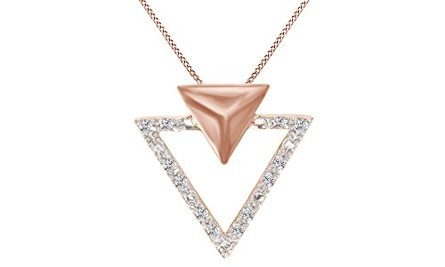 White Natural Diamond Triangle Pendant Necklace 14k Rose Gold Over Sterling Silver (1/10 Cttw) ()