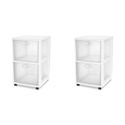 Sterilite 36208002 Ultra 2 Drawer Cart, White Frame & Clear Textured Drawers w/ Handles &  Black Casters, - Cart Storage Sterilite Drawer