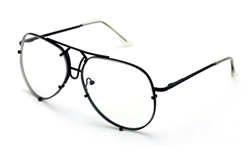 V.W.E. New Non-Prescription Premium Aviator Clear Lens Glasses Gold Silver Black - New For Lenses Glasses