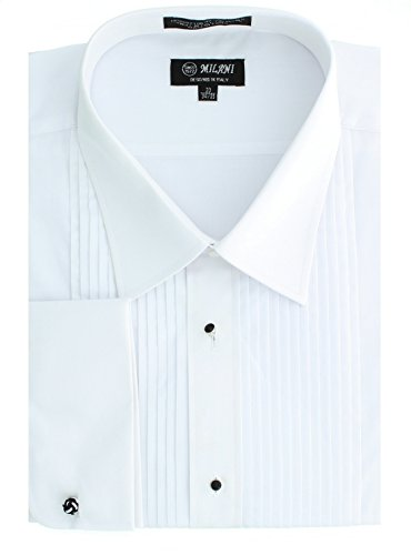Milani Men's Tuxedo Shirt With French Cuffs 15.5″ 32/33 White