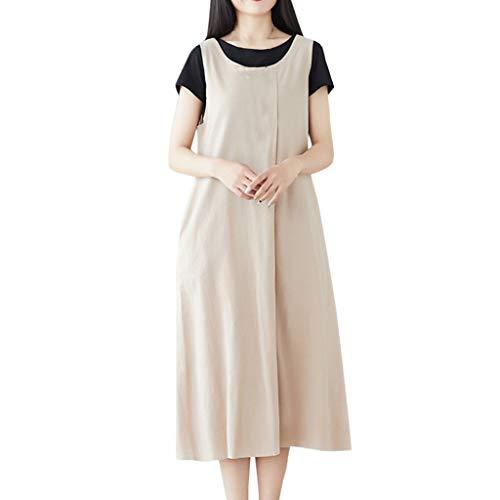 (ERLOU T-Shirts Women's Summer Cotton Linen Loose Casual Solid Color Strap Dress Two-Piece Suit Tunic Tank Tops Blouse (White, XL))