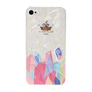 LIMME- Colorful Irregular Geometric Pattern Diamond Effect Surface Plastic Hard Case for iPhone 4/4S