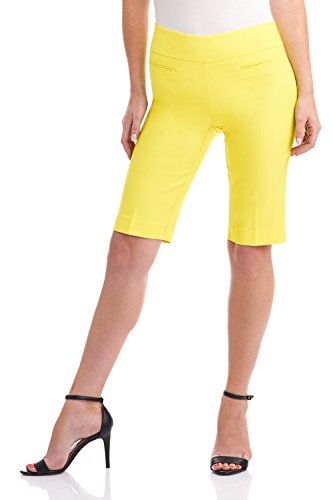 Rekucci Women's Ease in to Comfort Fit Pull-On Modern City Shorts (18,Pineapple (Yellow Bermuda)