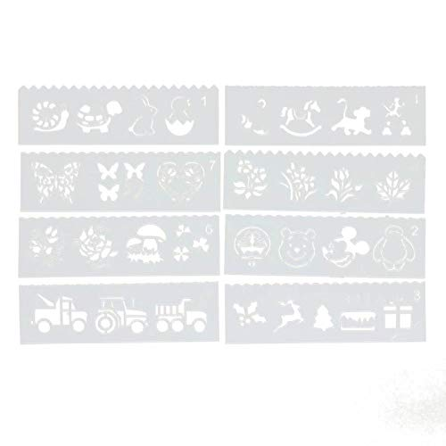 (Leo-4Beauty - 8Pcs/set DIY Po Album Template Tool Cartoon Hollow Ruler Stencils for DIY Scrapbooking Plastic Drawing Painting Tool Pochoir)