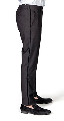 (Slim Fit Tuxedo Pants Flat Front No Pleats Black Side Line AZAR (34 Waist 32 Length, Black Velvet Line))